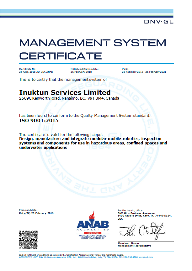 ISO 9001: 2015 Certification for Inuktun Services Limited
