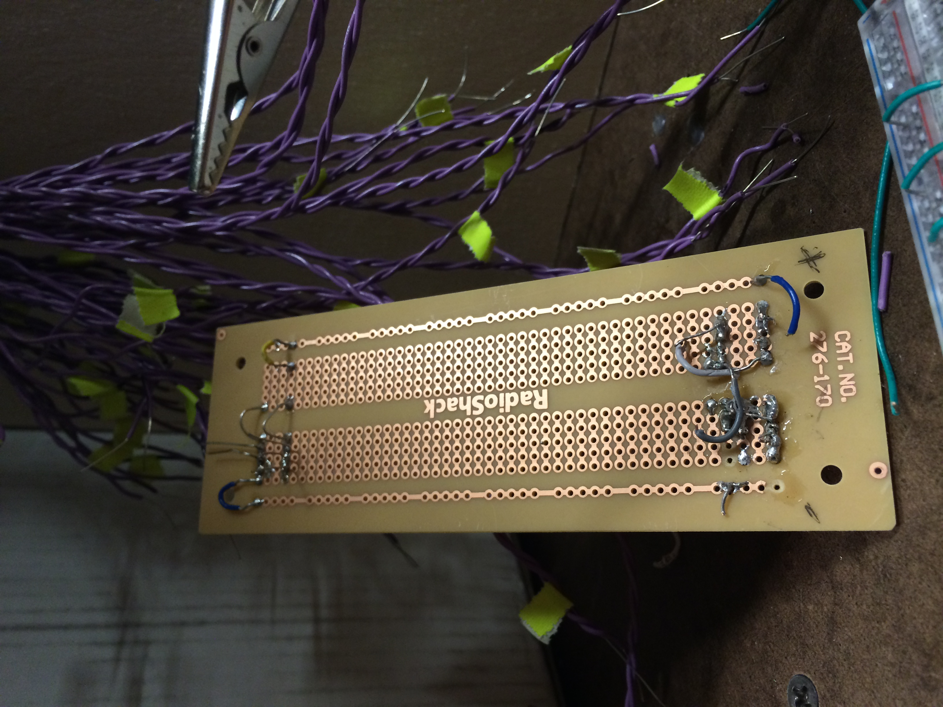 The solderable boards were pretty hard to manage in our case...Eventually we ended up using the most common breadboard and hot-glued all the wires to the points.