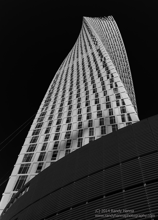 "The Cayan Building in B&W, otherwise known as ""Twisty""   Nikon D4, 24-70 f/2.8 @ 31mm, ISO 125, 1/200 sec at f/8.0"