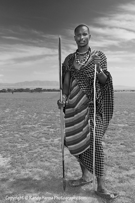 Proud Massai Warrior on the Serengeti Plains  Nikon D300, 17-55mm @ 31mm, ISO 200, 1/200 sec @ f8