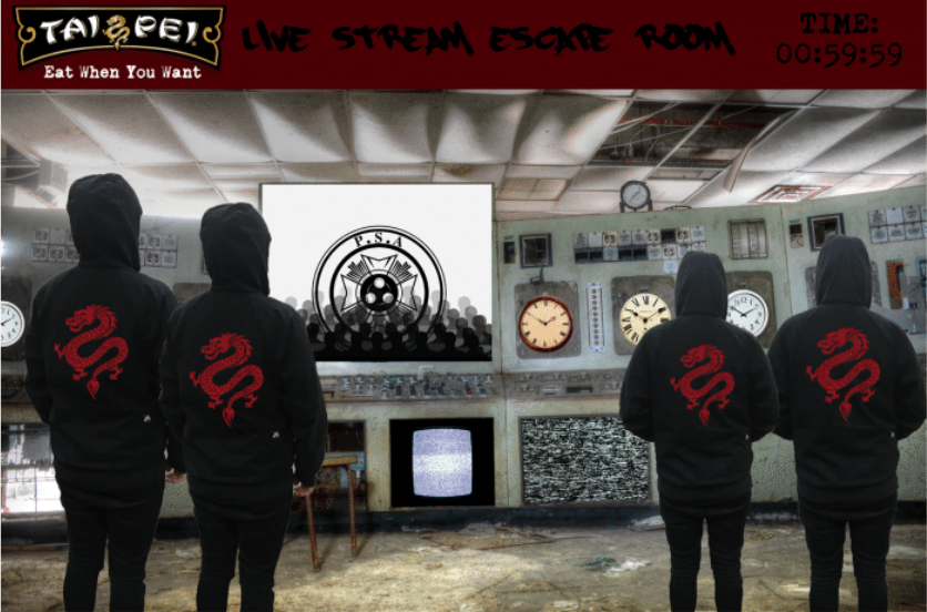 CONTESTANT WILL PLAY AN ESCAPE ROOM SERIES, FLEEING FROM A BREAKFAST DINER, A LUNCH CAFETERIA, AND A SIT-DOWN DINNER RESTAURANT. THIS EXPERIENCE WILL LIVE AS LIVESTREAM CONTENT FOR BOTH YOUTUBE AND TWITCH, TO CREATE DIGITAL HYPE.