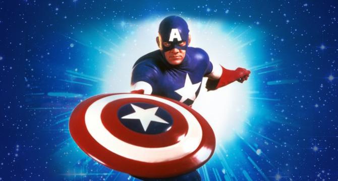 "Matt Salinger displaying his best ""pretending to throw a Frisbee blue steel"" look in Captain America (1990)"