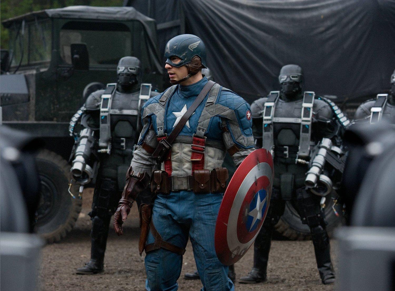 Chris Evans as Steve Rogers/Captain America in The First Avenger directed by Joe Johnston.