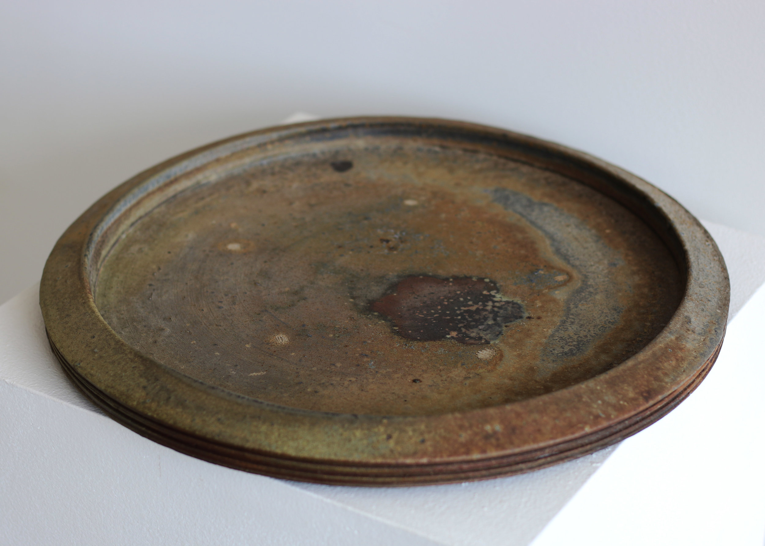 Flat Platter with Scraped Lines