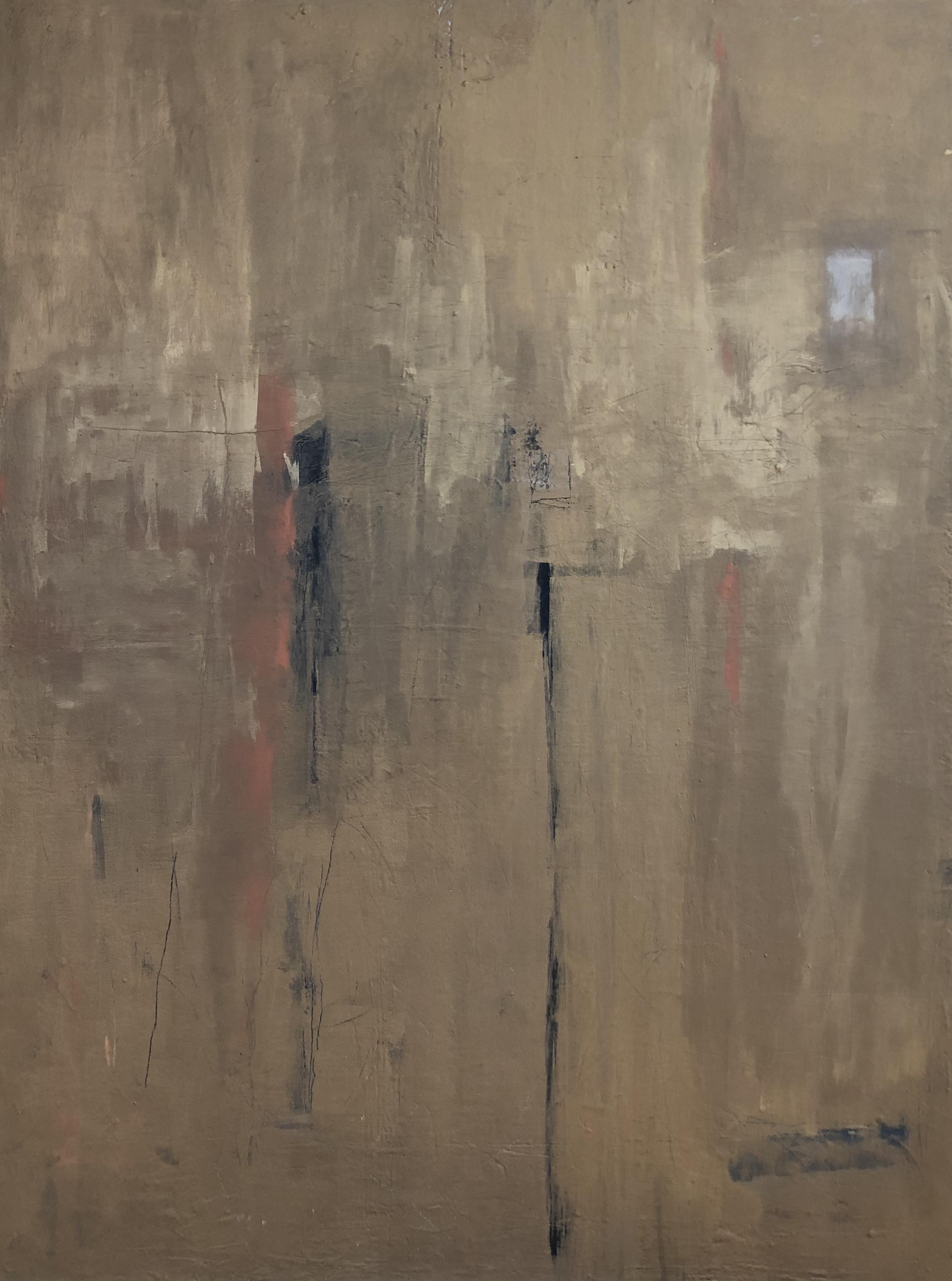 """""""Brassy Sun Abstract"""", acrylic on canvas, 40"""" x 30"""""""