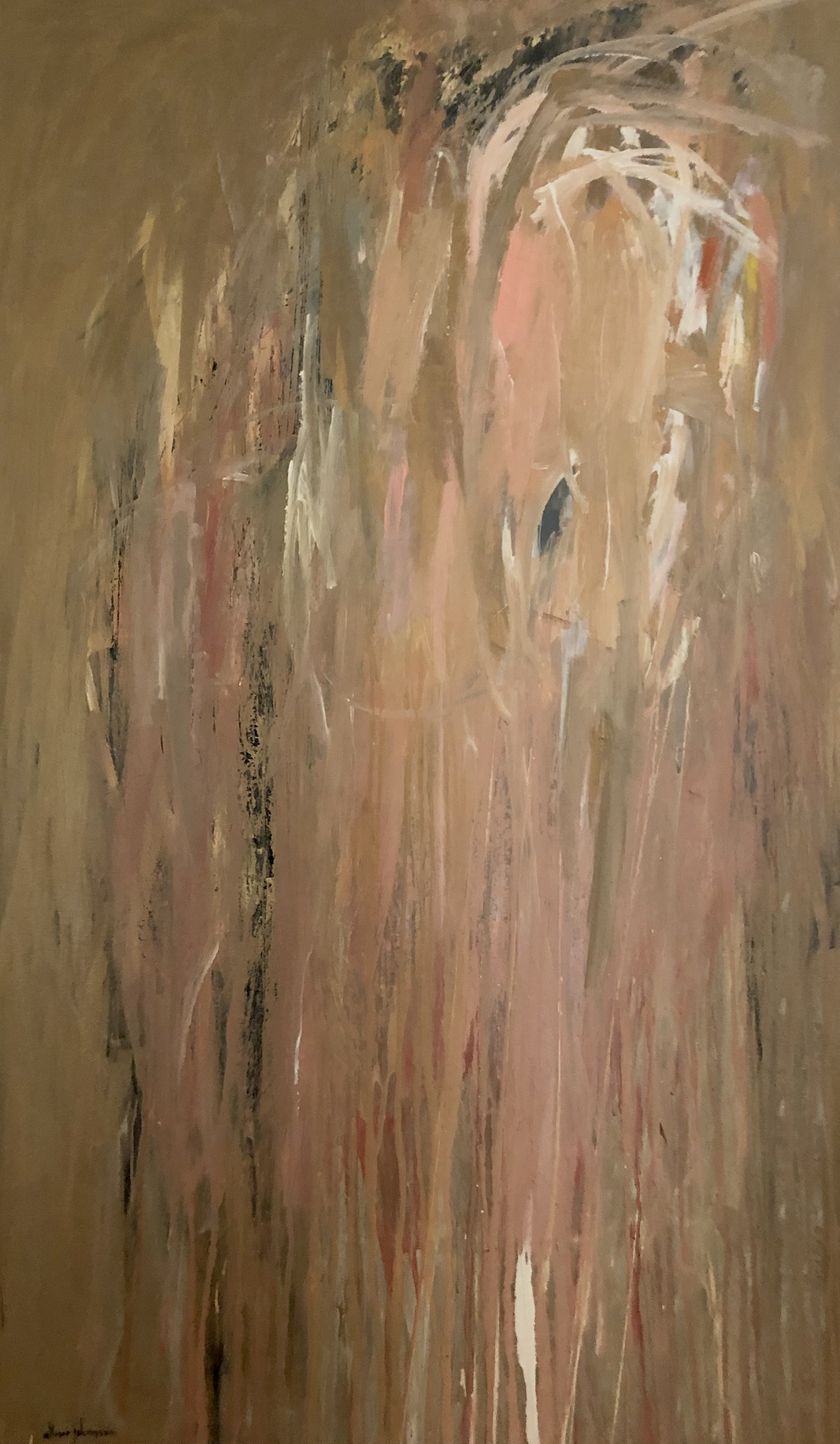 """Brassy Pink Cascade""  Allison Johanson   acrylic on canvas  60"" x 36"""