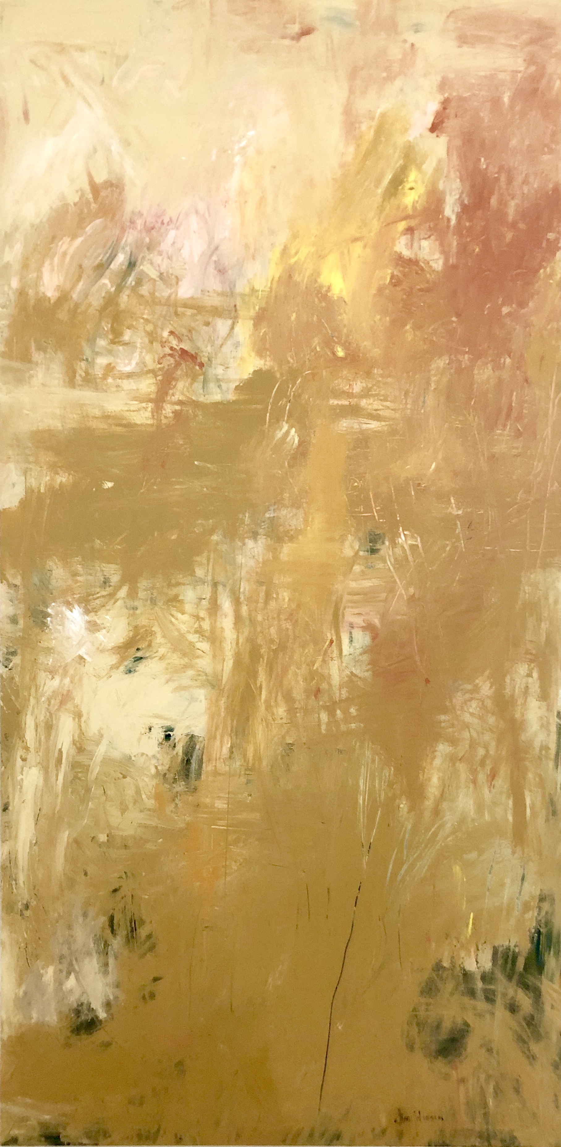 """Ochre Disposition""  Allison Johanson   acrylic on canvas  72"" x 36"""
