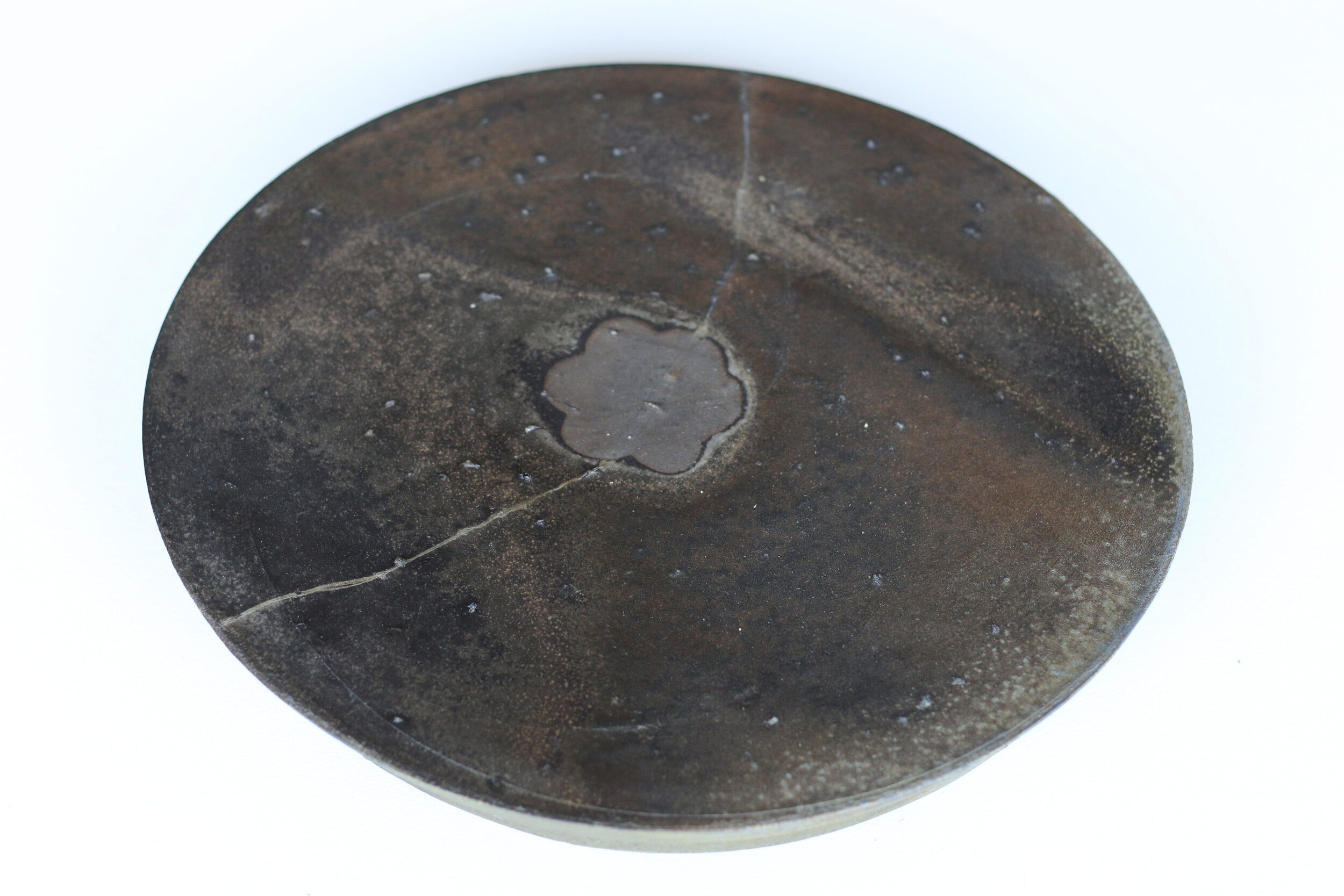 Platter with Elevated Foot and Flower