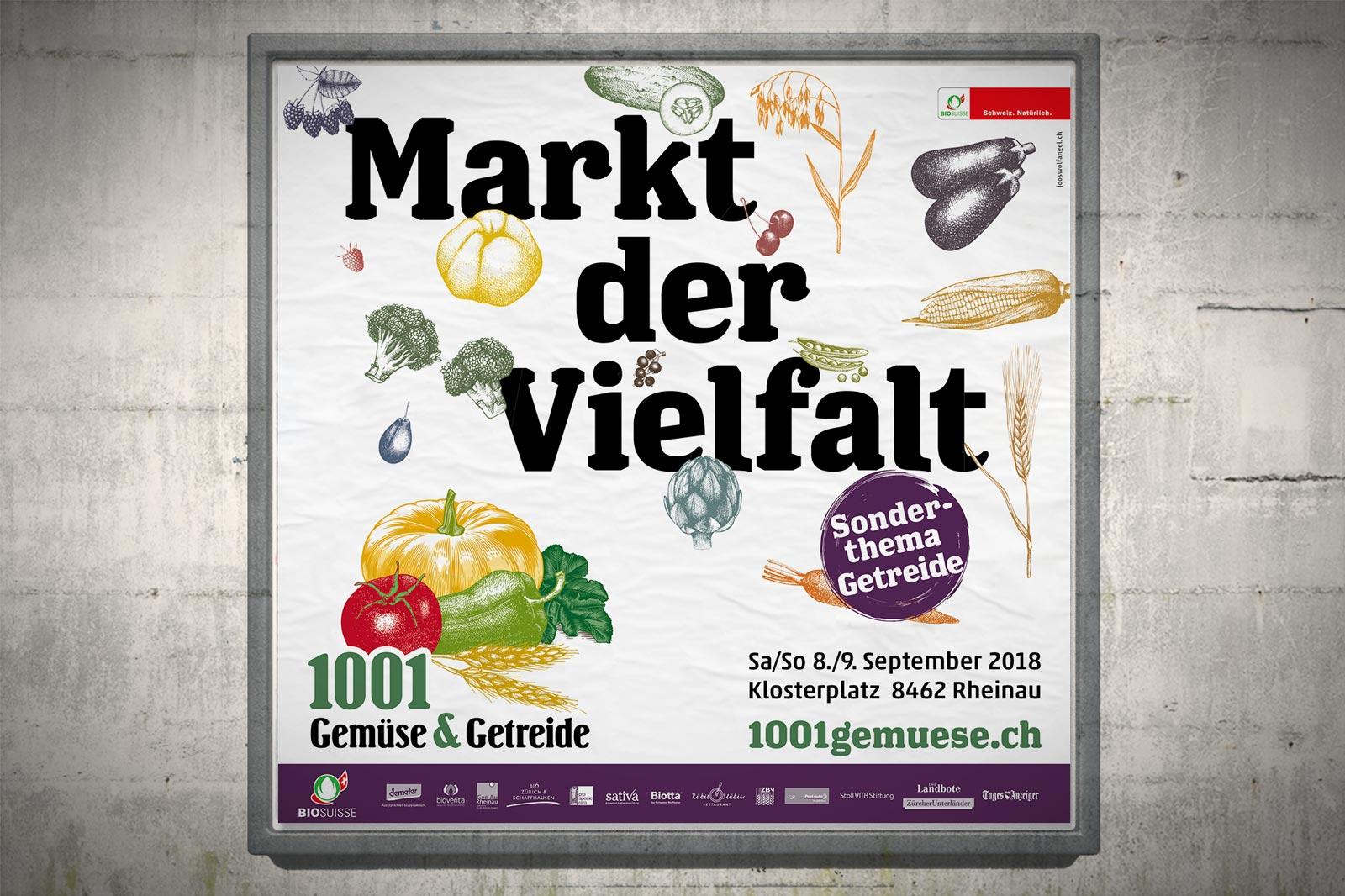 Die grosse Artenvielfalt.   Kommunikation für gentechnikfreie Nahrungsmittel zur Erhaltung einheimischer Gemüse- und Getreidearten.   Zum Arbeitsbeispiel   →