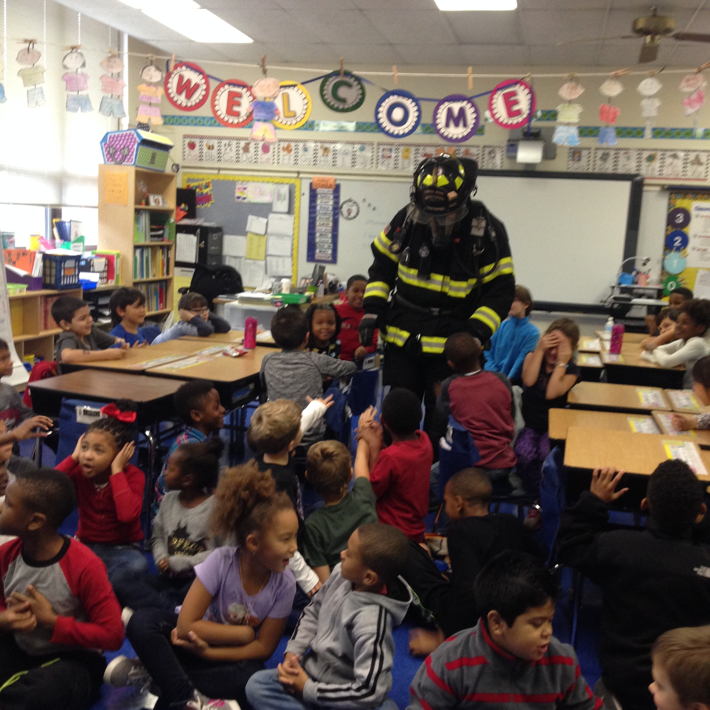 Local 2753 members giving fire safety talk for fire prevention week