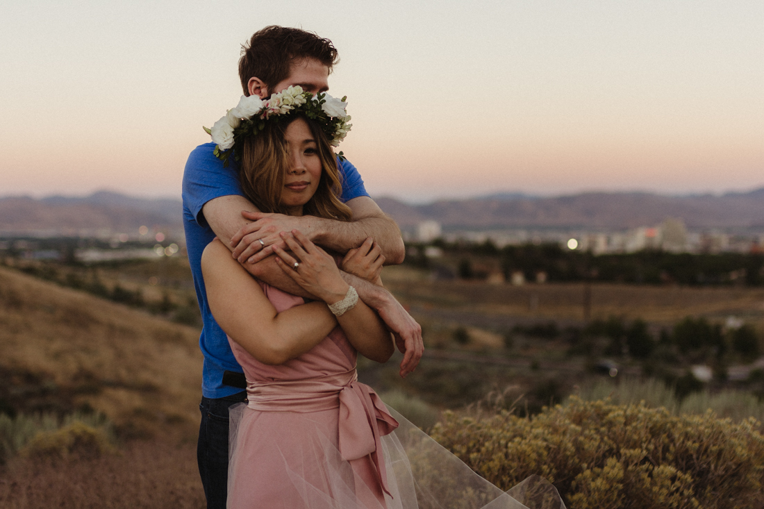 couple looking at Reno, NV during their anniversary session