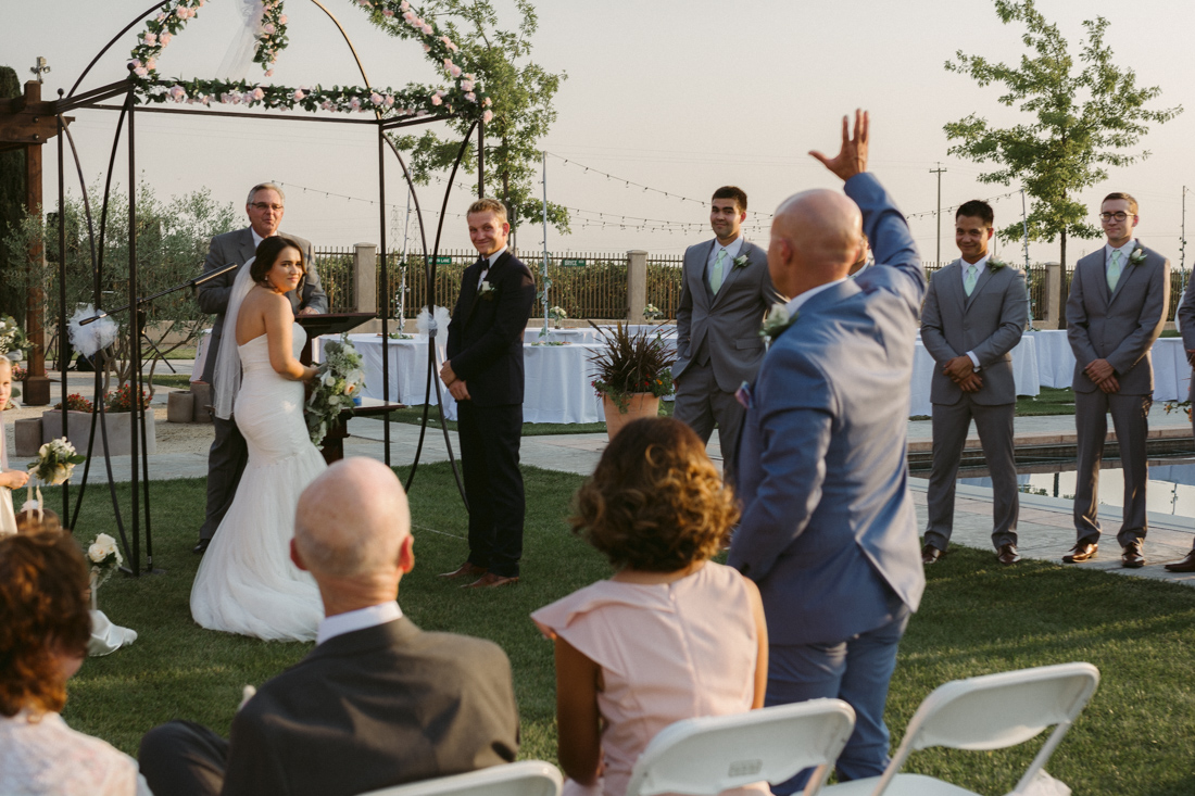 California Wedding private venue dad giving his blessing to the couple