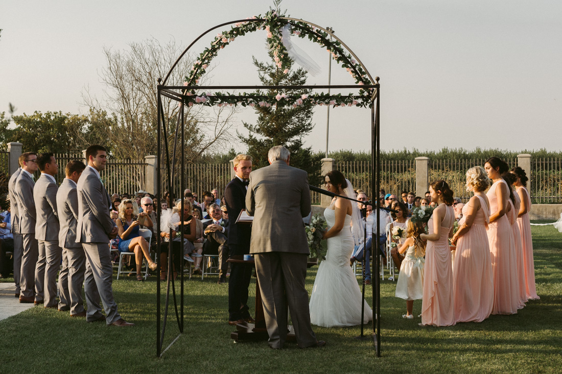 California Wedding private venue bride and groom during their wedding ceremony