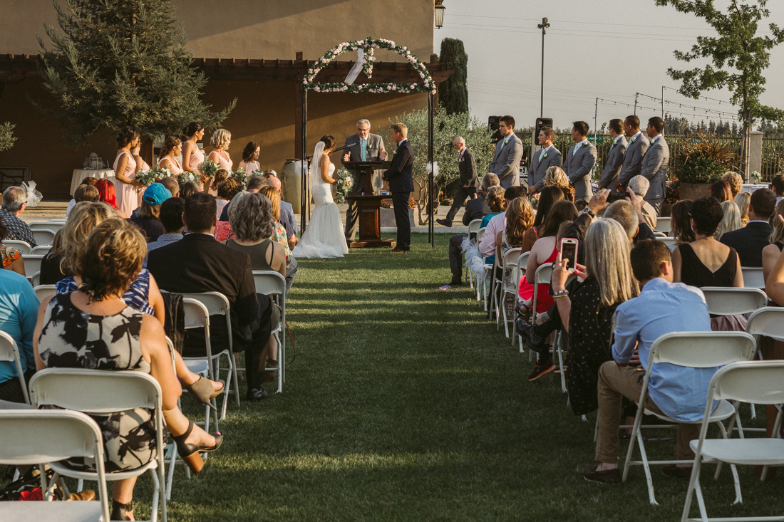 California Wedding private venue bride and groom and their guests during the wedding ceremony