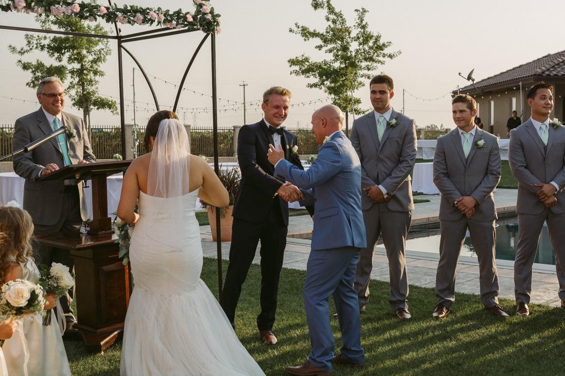 California Wedding private venue bride and father walking down the aisle