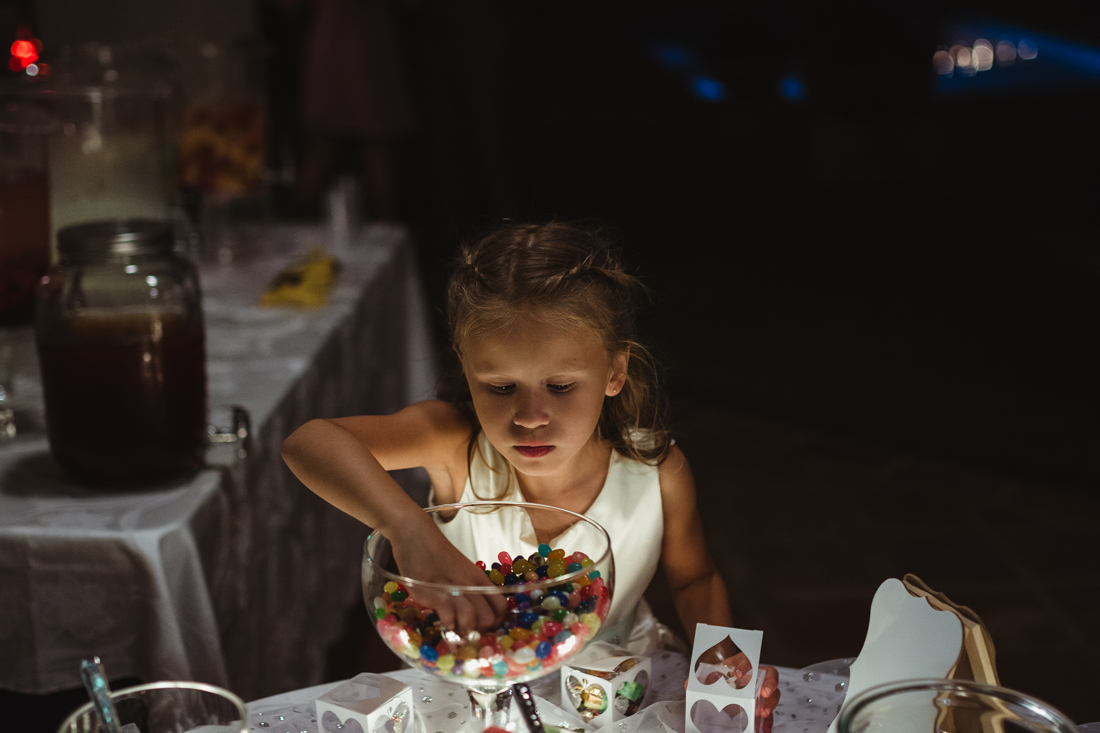 California Wedding private venue flower girl at the candy table