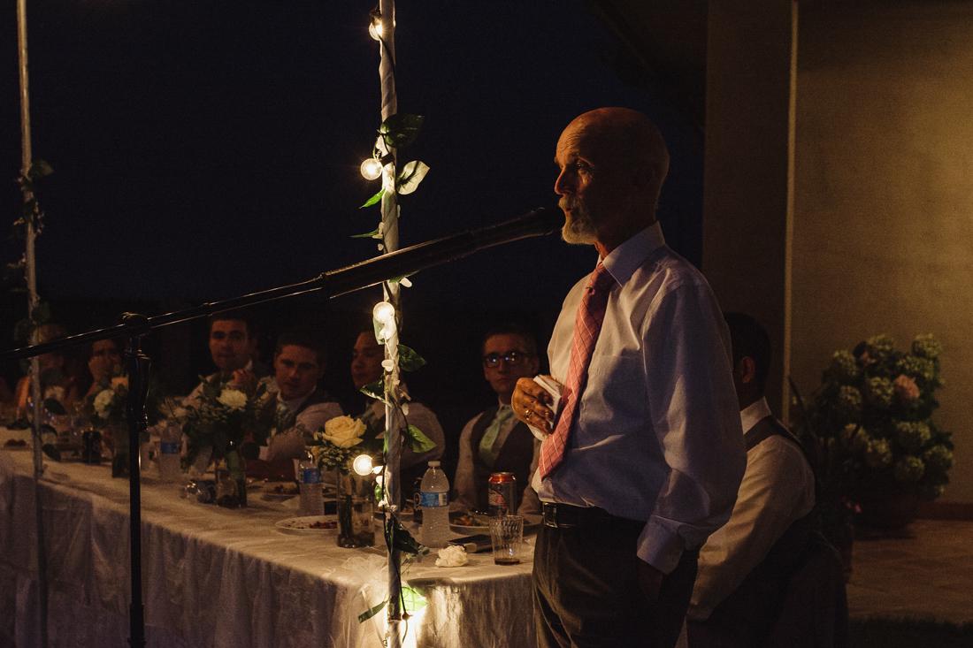 California Wedding private venue bride and groom toast photo