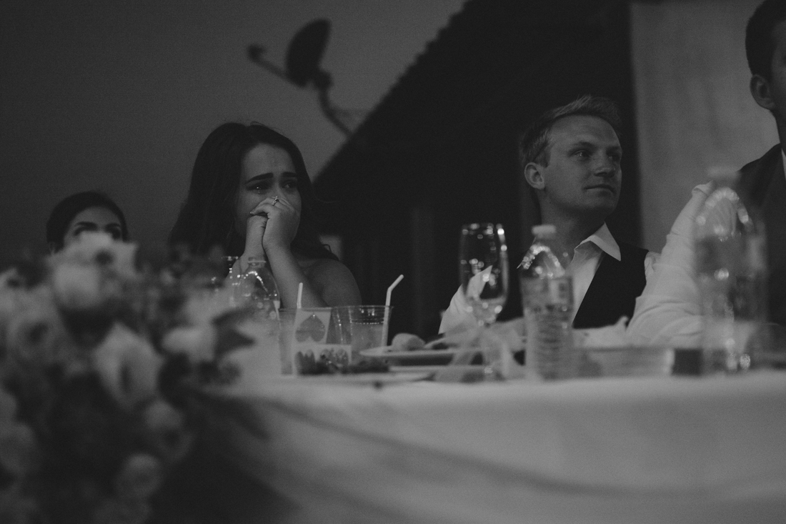 California Wedding private venue bride crying during the toast