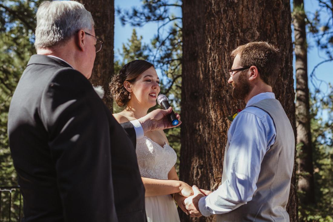 Galena Creek Hatchery bride saying her vows photo