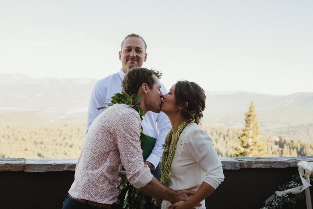 North Tahoe Lodge wedding first kiss photo
