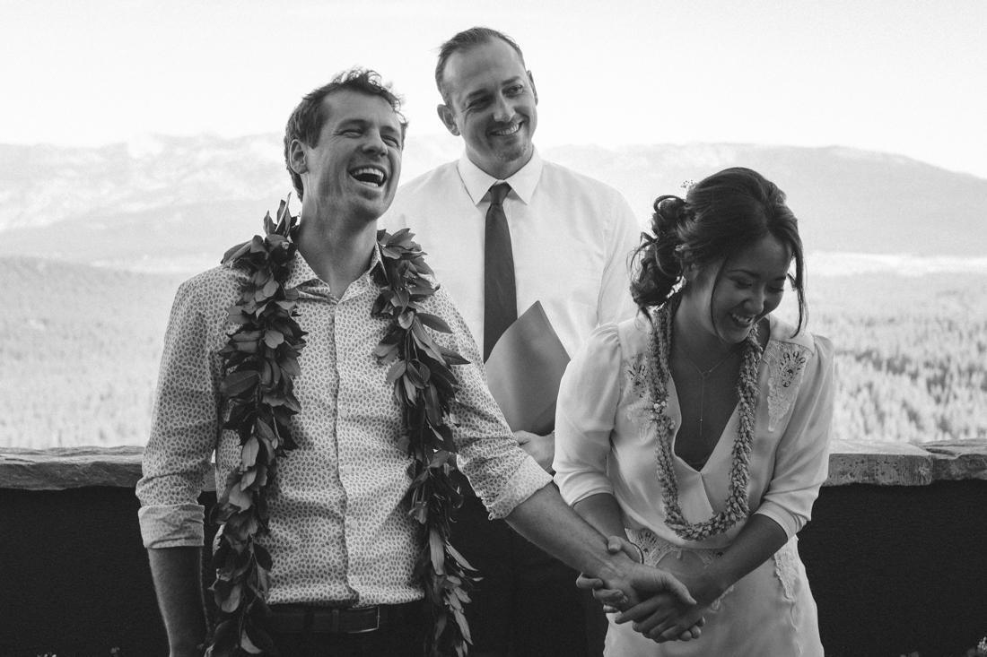 North Tahoe Lodge wedding bride and groom laughing photo