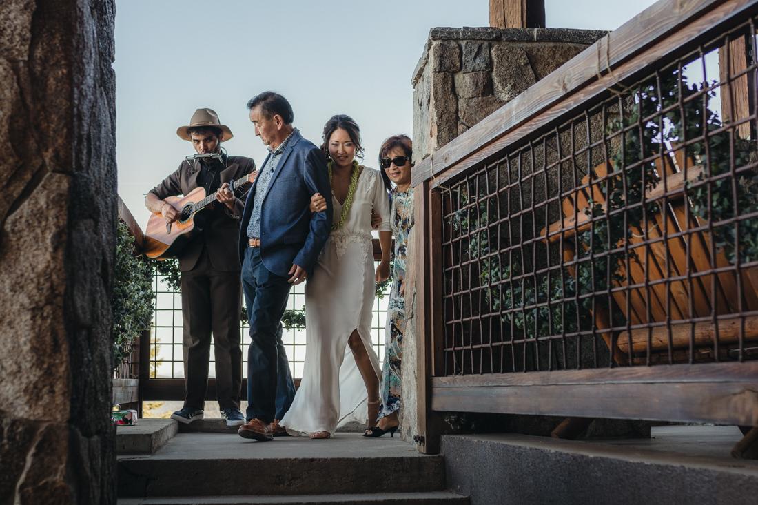North Tahoe Lodge wedding bride walking down the aisle photo