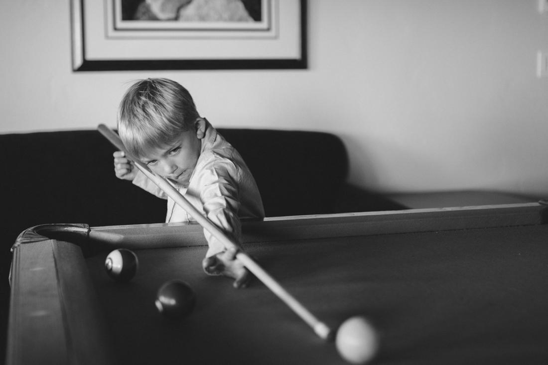 North Tahoe Lodge wedding boy playing pool photo