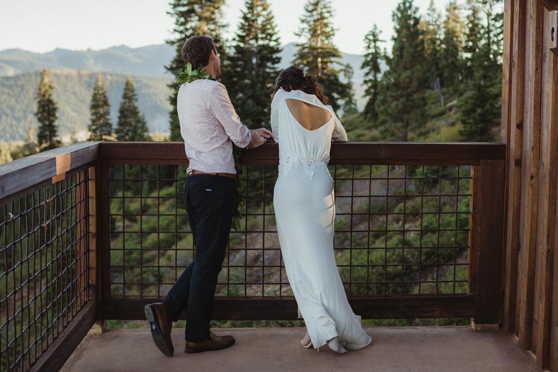 North Tahoe Lodge wedding couple enjoying the view photo
