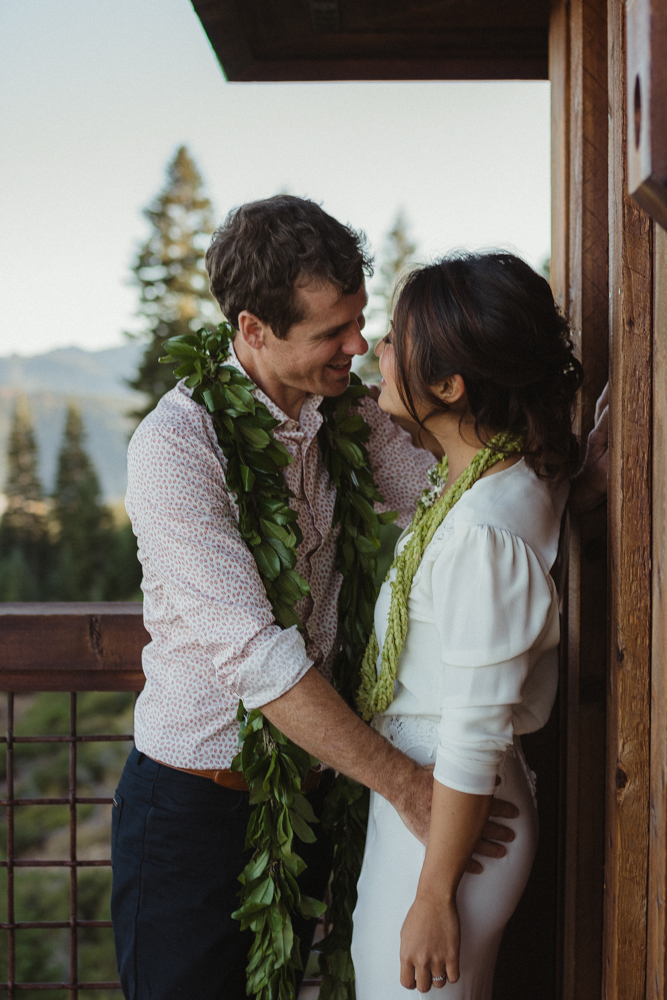 North Tahoe Lodge wedding couples photo