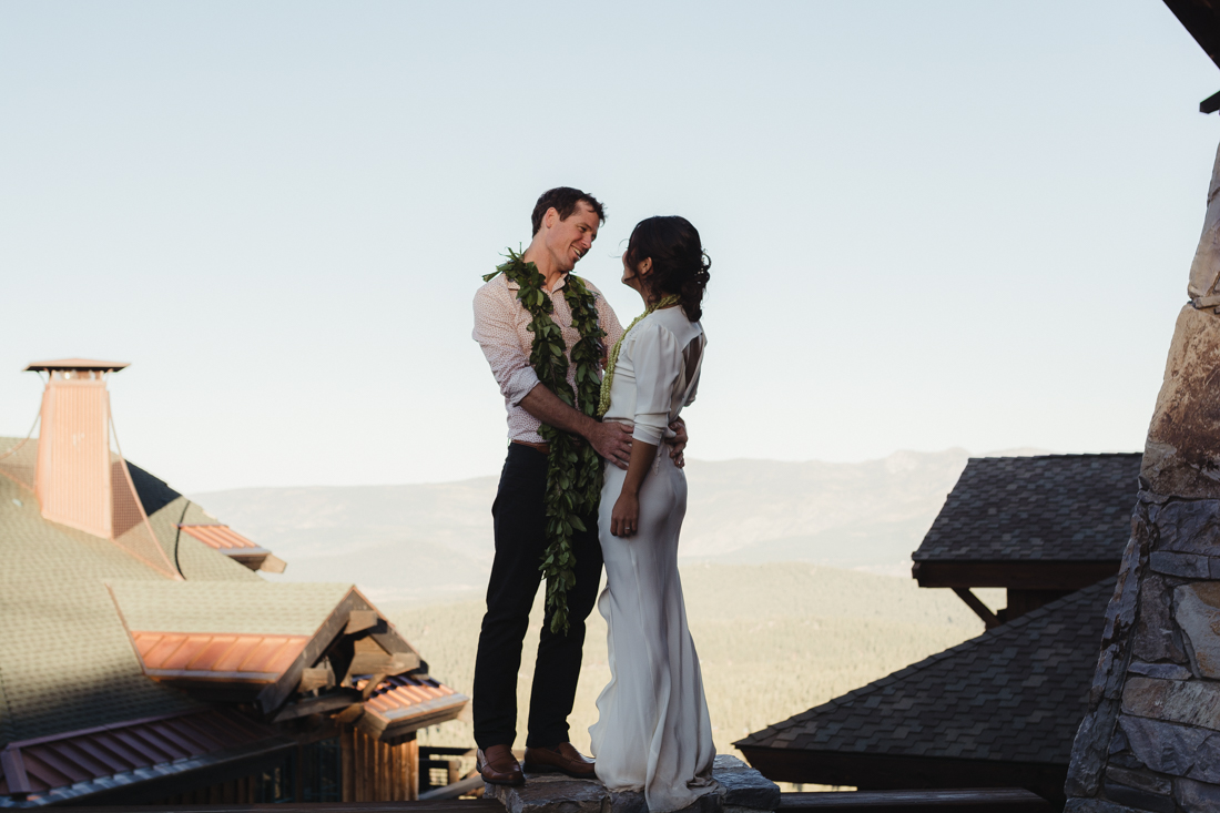 North Tahoe Lodge wedding couple looking at each other photo
