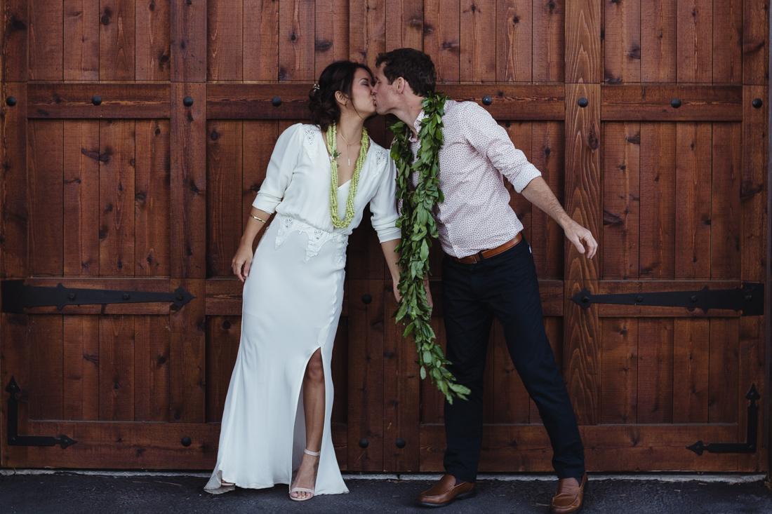 North Tahoe Lodge wedding couple kissing photo