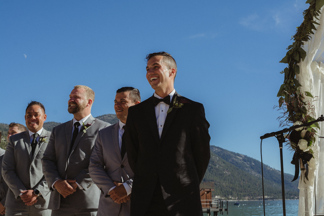 Incline Village wedding groom seeing his bride for the first time photo