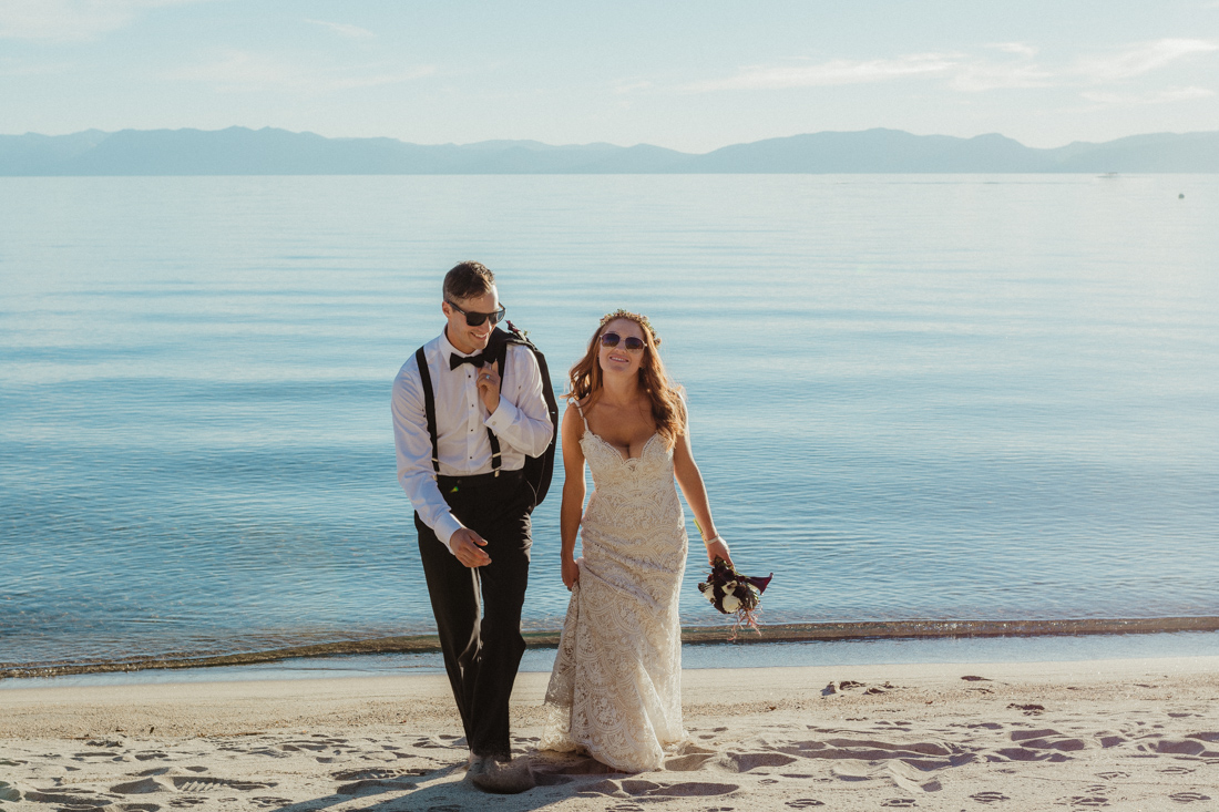 Incline village beach wedding photo