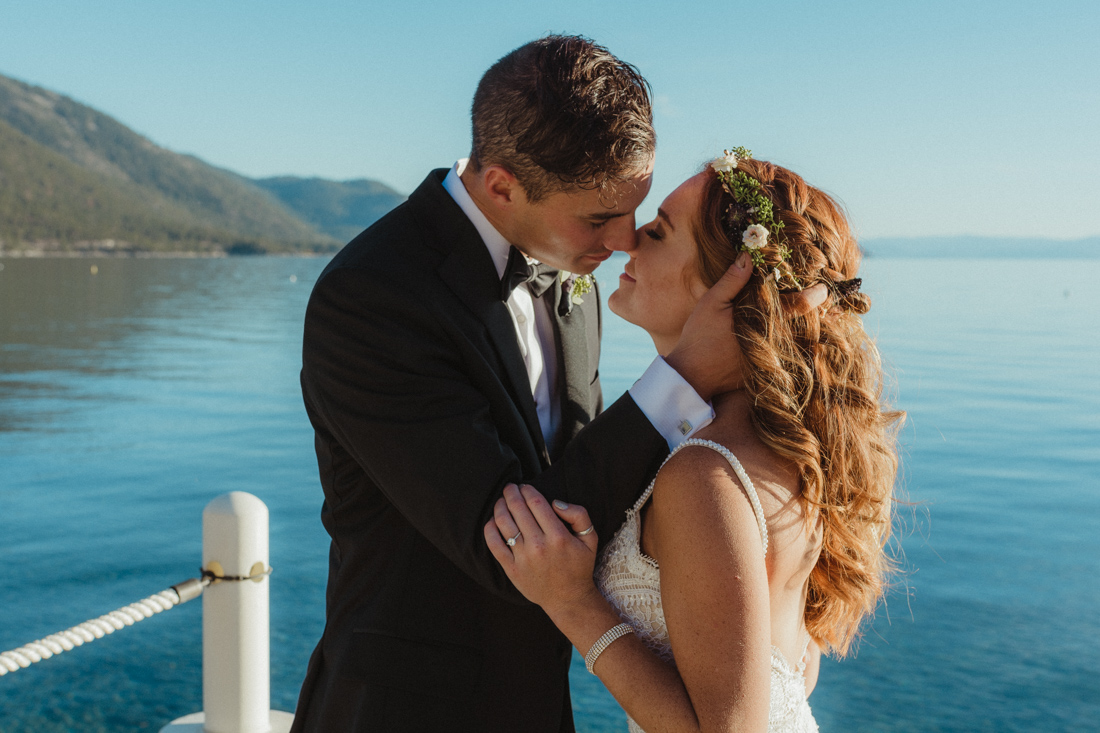 Incline village beach wedding couple kissing photo