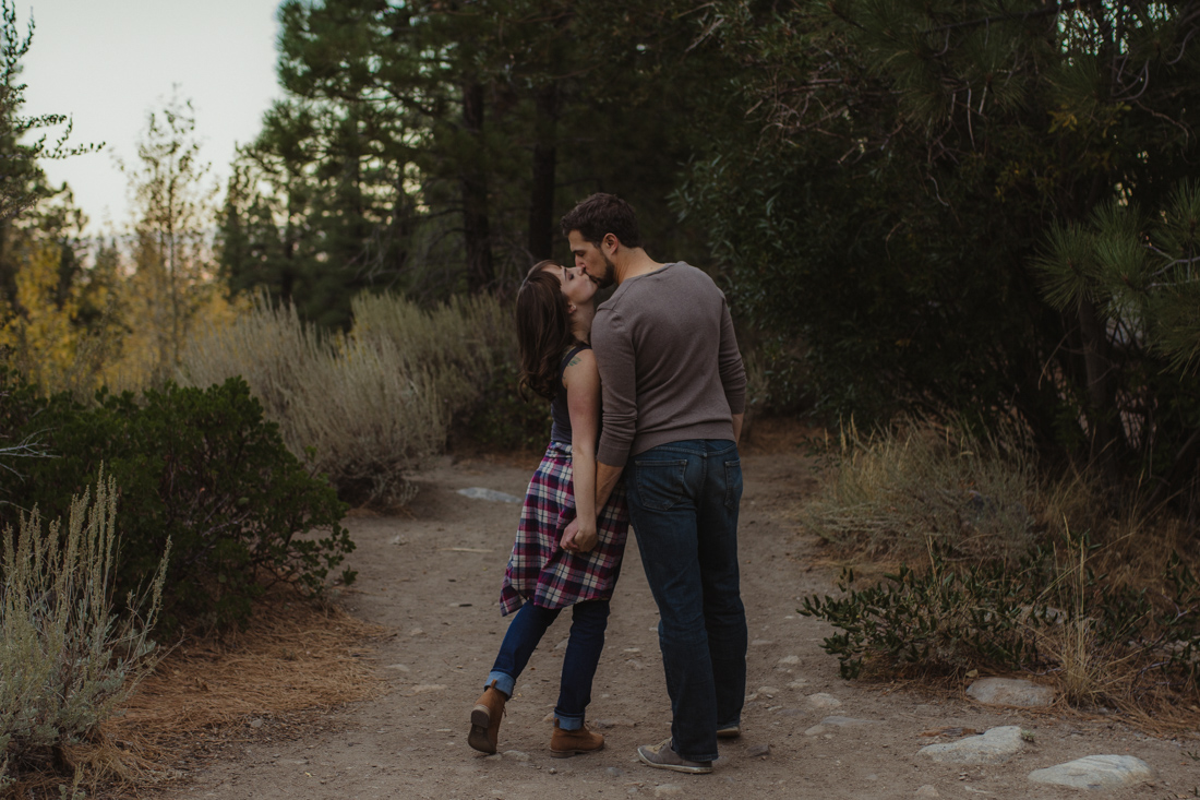 Galena Creek Fish Hatchery engagement session couple kissing photo
