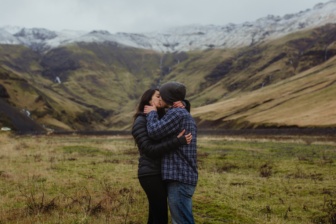 Couple kissing in Iceland