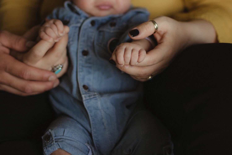 Yerington, Nevada Family session mom holding baby's hand photo