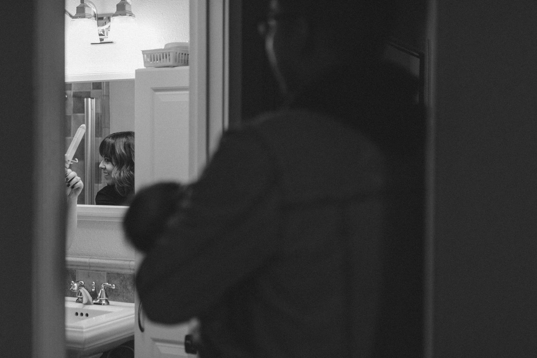 Yerington, Nevada Family session mom getting ready in the bathroom photo