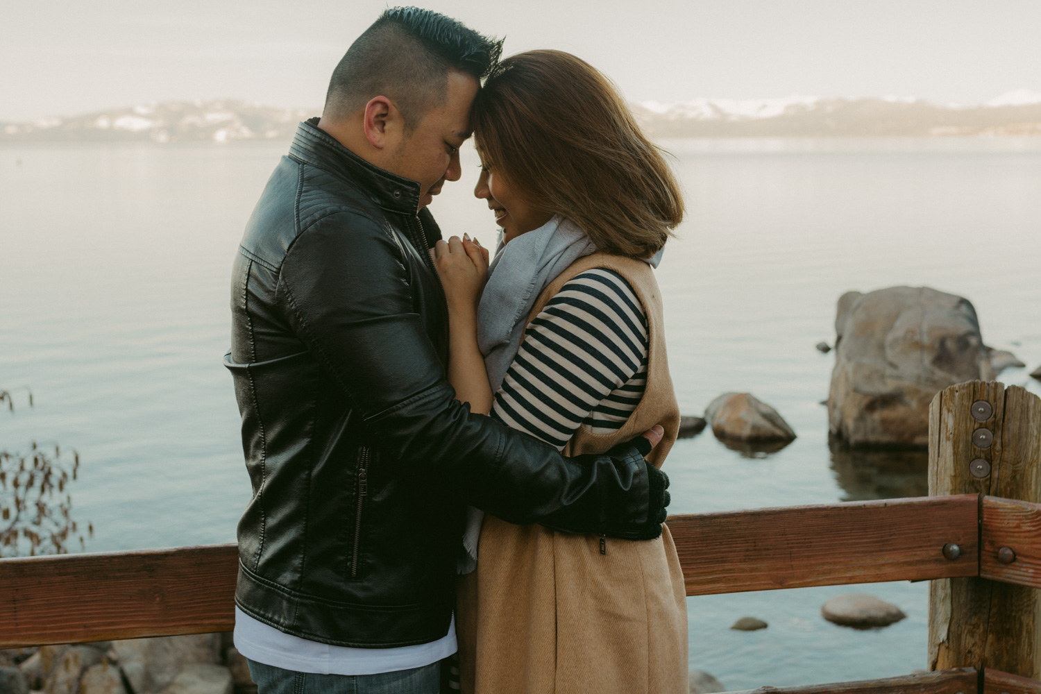 Lake Tahoe engagement session couple's foreheads touching