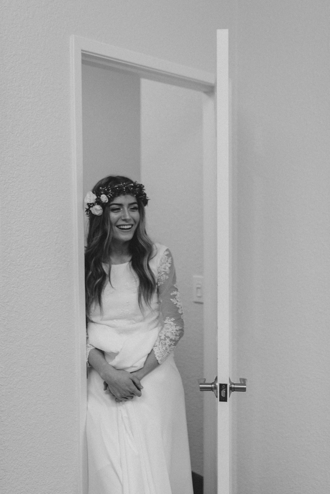 Vacaville wedding bride smiling before the ceremony photo