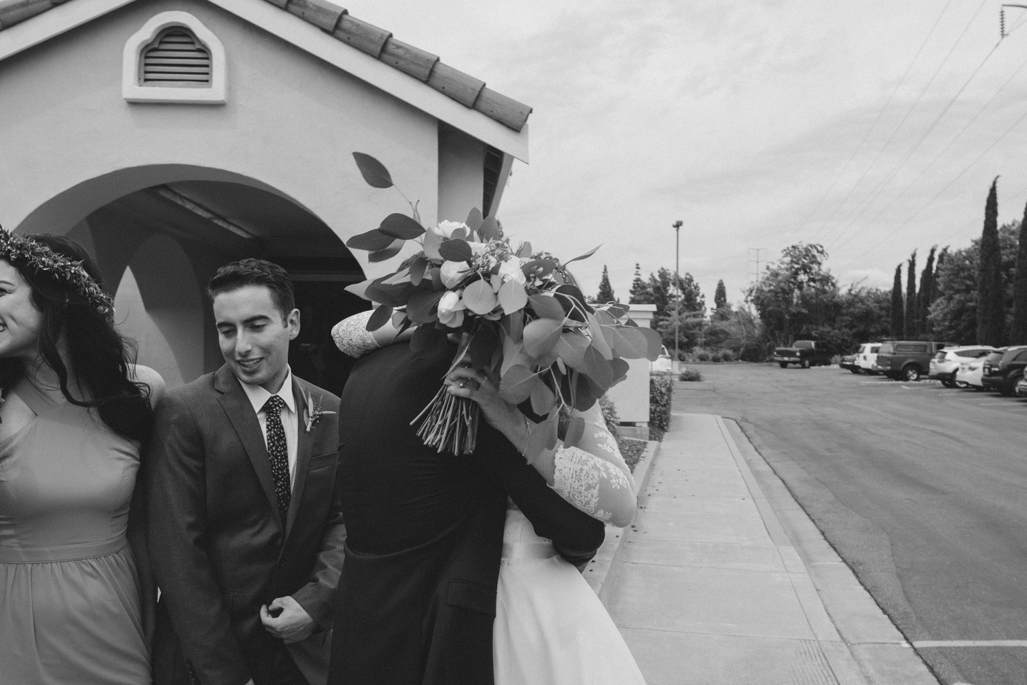 Vacaville wedding couple hugging after the ceremony photo