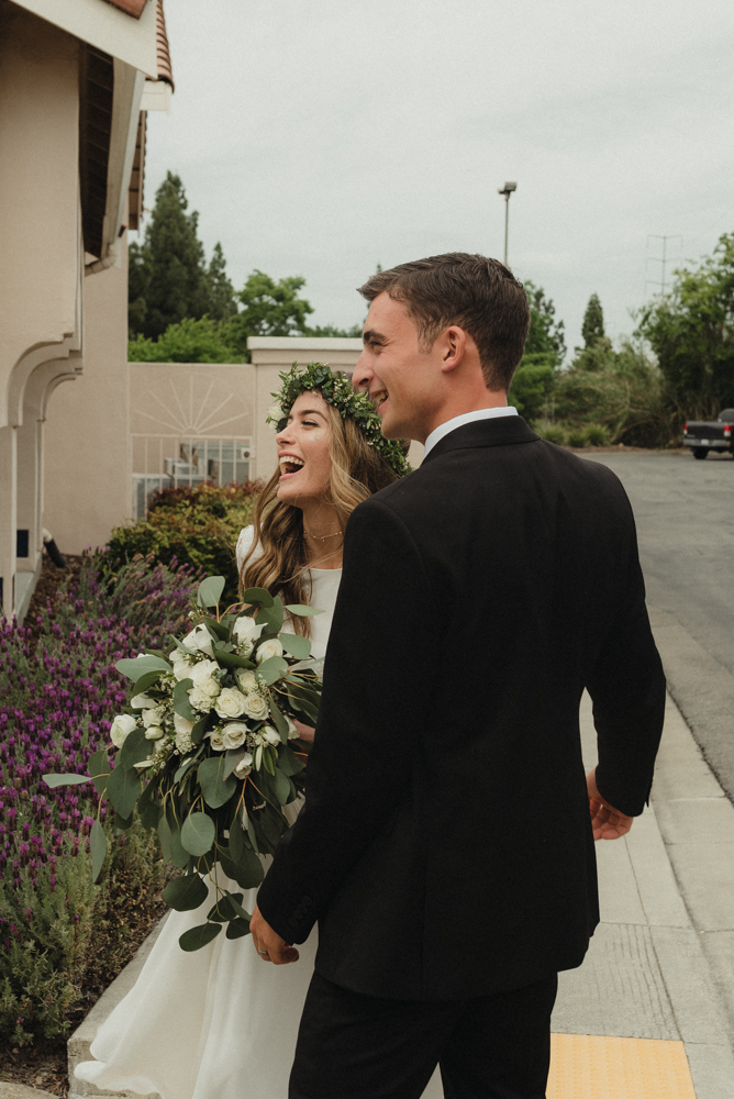 Vacaville wedding couple laughing together photo