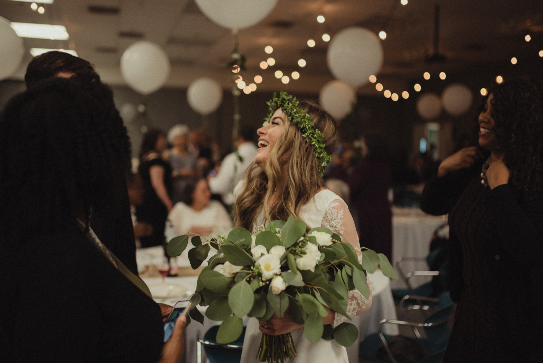 Vacaville wedding reception bride laughing photo