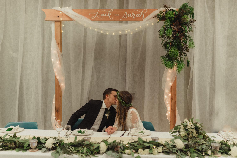 Vacaville wedding reception couple kissing photo