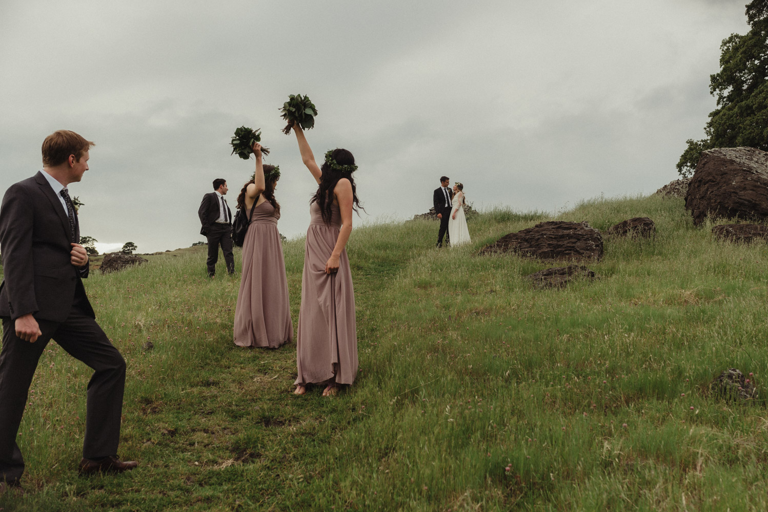 Vacaville wedding bridal party photo on a hill photo