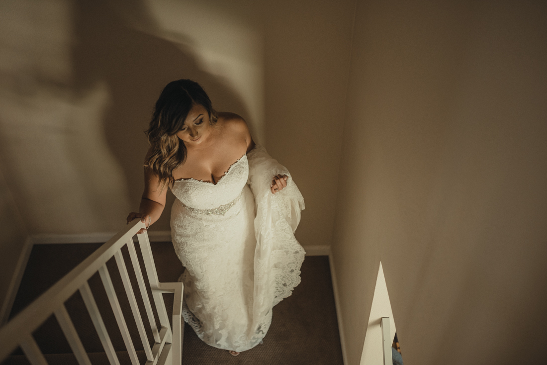 Reno wedding photography, bride walking down the stairs photo