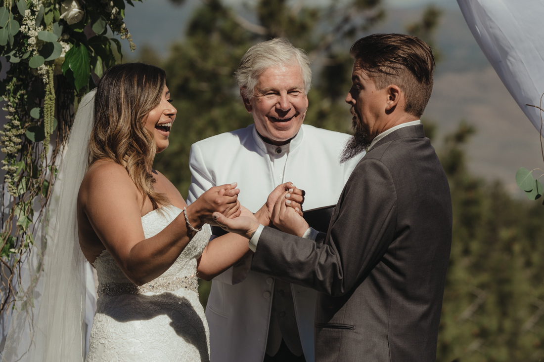 Tannenbaum wedding ceremony couple laughing together photo