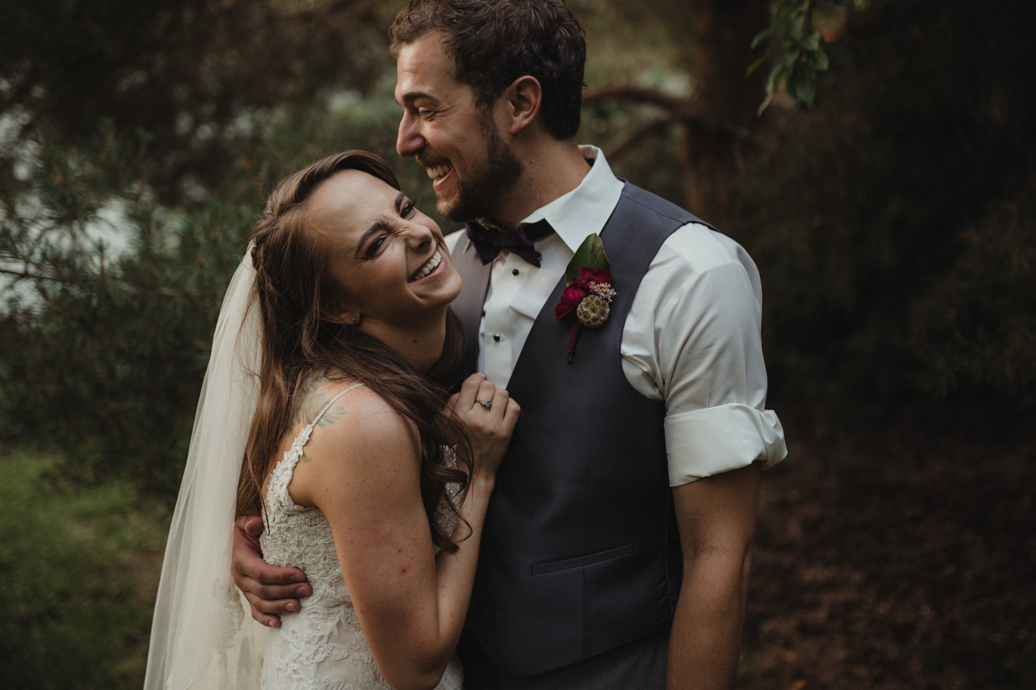 San Rafael wedding couples laughing photo