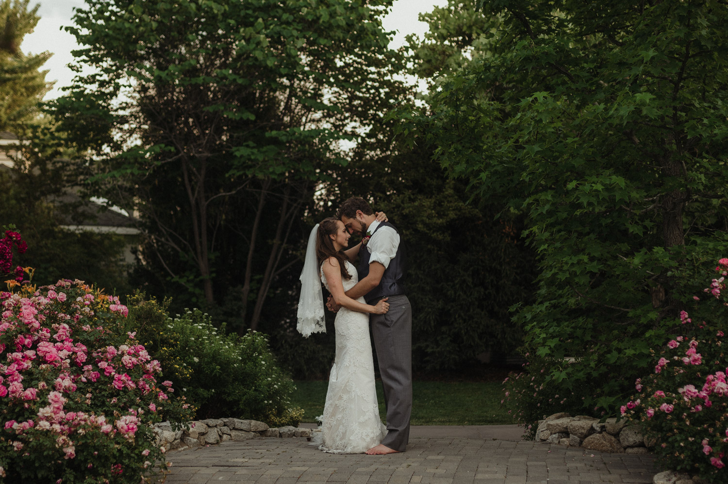 San Rafael, Reno wedding couple in a rose garden photo