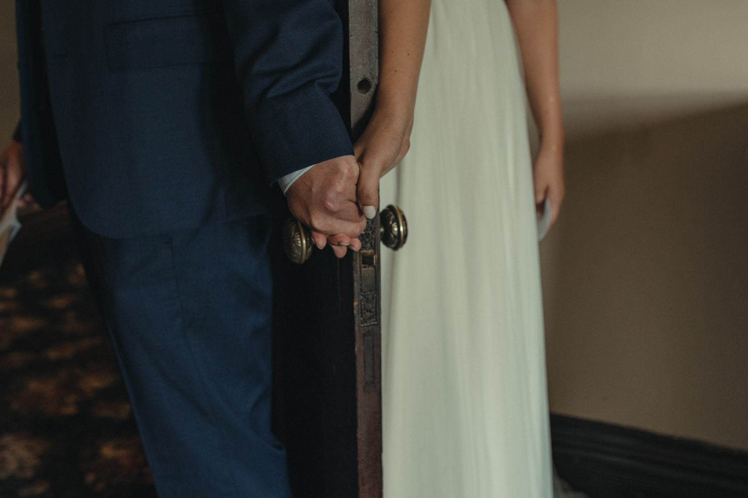 Wedgewood Sequoia Mansion wedding holding hands before the ceremony photo